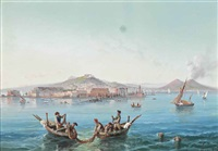 fishing before naples, vesuvius beyond by la pira