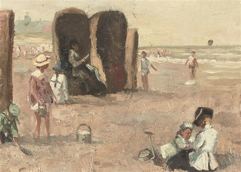 a sunny day on the beach of scheveningen by louis soonius