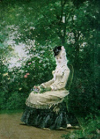 elegant lady in the garden by jose llovera bofill
