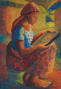an akan girl looks into a mirror (+ study, verso) by kofi antubam