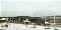 cement works on the medway at frindsbury, rochester by charles spencelayh