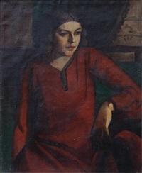 kırmızı elbiseli kadın by cemal tollu