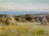 a field of haystacks on the jersey coast by georgina m. de l' aubiniere