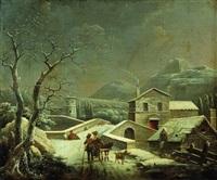 deux paysans sur un chemin près d'un village enneigé by jules cesar denis van loo