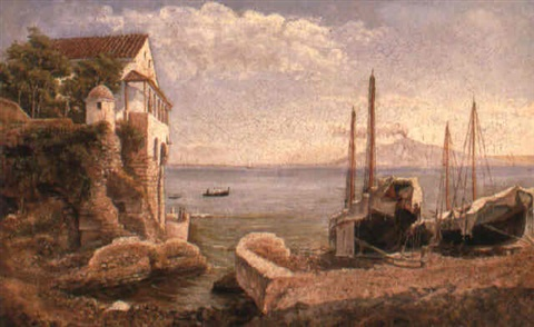 boats moored at sorrento by giuseppe patania