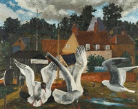 pin mill and black-headed gulls by sir cedric lockwood morris