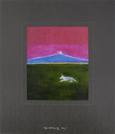 unicorn in a landscape by craigie aitchison