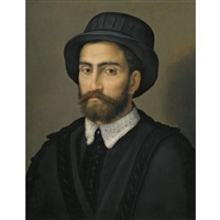 portrait of a man, bust length, wearing a black coat and hat by pier francesco di jacopo foschi