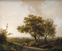 an extensive landscape with travellers on a sunlit path, a view of nijmegen beyond by barend cornelis koekkoek