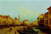 blick auf eine stadt am kanal by eugénio amus
