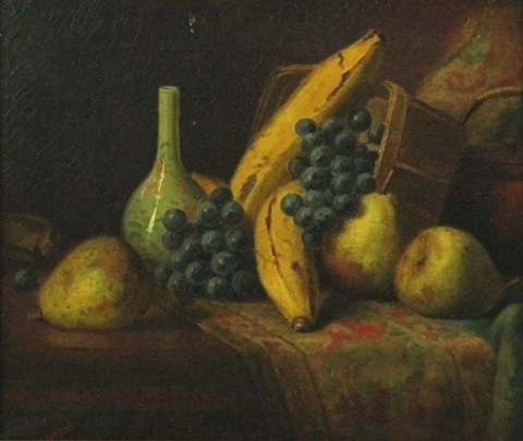 still life with fruit vase and carpet by george henry hall