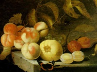 still life with peaches, plums, grapes and a butterfly, all on a stone ledge by jan baptist fornenburgh