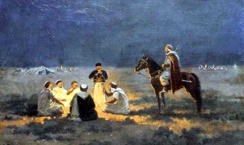 campement arabe autour du feu by josé alsina