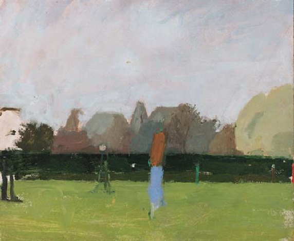 figures in a park by euan uglow