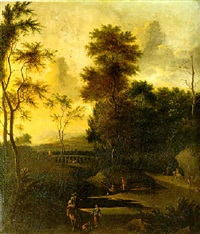 travelers in an italianate wooded landscape by timotheus de graef