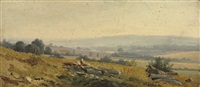 a view of the countryside at connerré, near le mans by robert léopold leprince