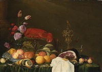 still life with a vase of roses and tulips, a ham on a pewter plate, glassware, a lobster and fruit on a ledge by andries benedetti