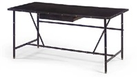 a leather and brass desk, 1950s by jacques adnet