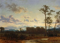 a river landscape at sunset by carl gustav rodde