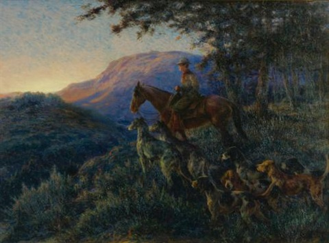 enjoying sunset after a long days hunt by edmund henry osthaus