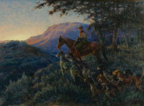 enjoying sunset after a long days hunt by edmund henry osthaus