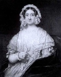 a lady, seated in a red upholstered chair, wearing white dress with elaborate white lace collar, blue cloak and white lace bonnet dressed with flowers, holding a seal set with crystal by edwin dalton smith