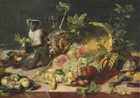 apples, grapes, a pomegranate, figs and other fruit spilled from an overturned basked, with a monkey with a hazelnut and another with grapes on a draped table by frans snyders