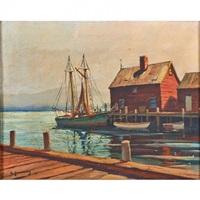 sailboat and dock by hjalmar amundsen