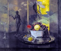 still life with fruit, flute and bronze by henry r. rittenberg