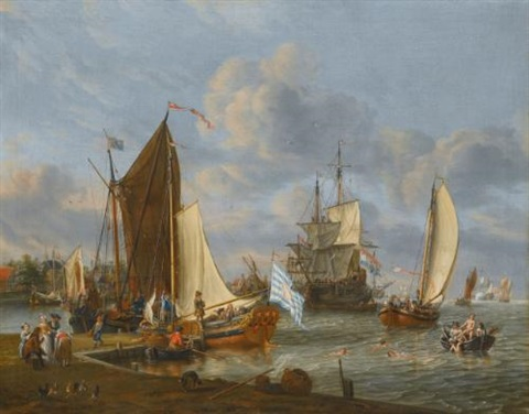 a dutch harbour with a bezan yacht and a galjoot moored at a quay a boeier yacht under sail and a man owar anchored beyond with figures bathing from a rowing boat by abraham jansz storck