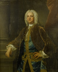 portrait of sir edward dering, in a gold velvet coat, a blue embroidered waistcoat and a white chemise, standing before a red curtain by john theodore heins sr.