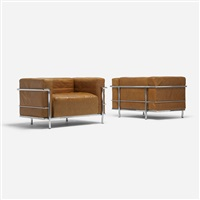 grand comfort lounge chairs (pair) by le corbusier, charlotte perriand and pierre jeanneret