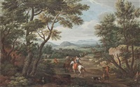 an extensive italianate landscape with travellers on a track by francois simonot