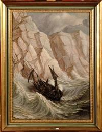 bateau de pêche dans la tempête by edgar (alfred) baes