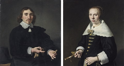 portrait of a gentleman portrait of a lady pair by jan victors