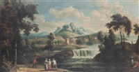 a wooded river landscape with figures on a track, a waterfall, a village and mountains beyond by anglo-french school (18)