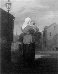 mother and child in the city by charles f. blauvelt