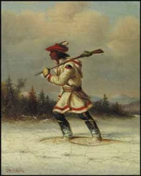 trapper on snowshoes by cornelius david krieghoff