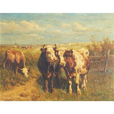 cows in a sunlit field by johannes hubertus leonardus de haas