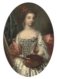 portrait of a lady at an easel, a palette in her left hand by johann heinrich tischbein the younger