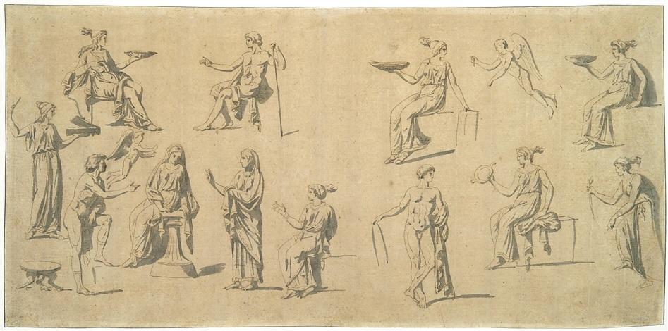 entwurf zu einem antikisierenden fries mit figuren design by jacques louis david