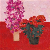 bougainvilliea et begonia à la table rouge by bernard cathelin