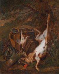 ein jagdstillleben mit erlegtem hasen und federwild by adriaen de gryef