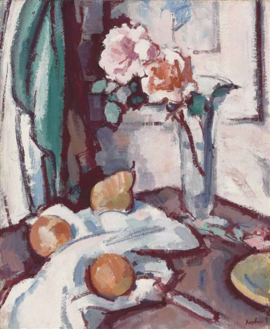 still life with pink roses oranges and a pear by samuel john peploe