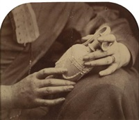 hands holding a clay ewer and study of hands (2 works) by oscar gustave rejlander