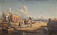 personnages orientaux devant un fleuve by lieutenant long