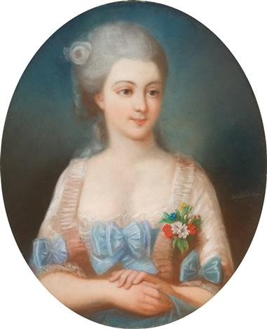 bildnis einer jungen dame mit rose im haar by elisabeth louise vigée le brun