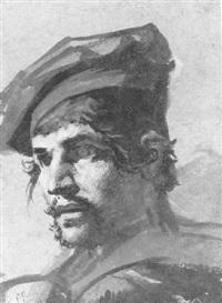 head of a man in a red beret by jean-léonard lugardon