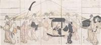 darstellung von schönheiten in einem umzug als parodie auf den daimyozug auf dem tôkaidô am fujisan (in 5 parts) by utagawa toyohiro