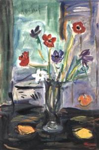stilleben mit tulpenstrauß und zitrusfrüchten by alexandre rochat